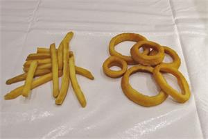 Fake french fries and fake food onion rings In Stock.