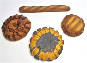 Various Replica Breads, Fake Bread Loaves for display at Fake Foods and More.