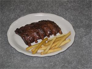 Fake bbq ribs and replica french fries On Sale.