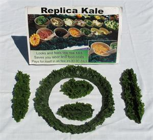 Plastic kale for salad bar display,replica kale strips in stock at Fake Foods and More.