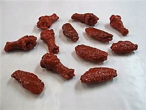 Fake chicken wings with hot wing sauce for display, Replica spicy wings On Sale.