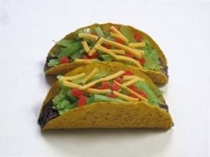 Fake Tacos for food display- Replica Hard shell Tacos at Fake Foods and More.